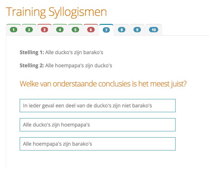 Voorbeeldvraag Syllogismen<